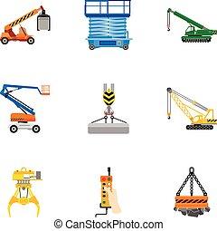 Lifting machinery icon set, flat style