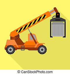 Lifting truck icon, flat style