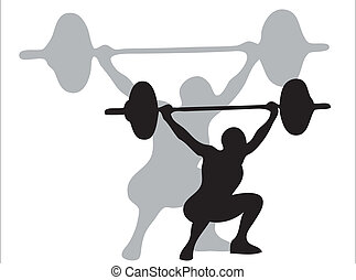 Lifting weights - Man lifting weights as symbol of olympic...