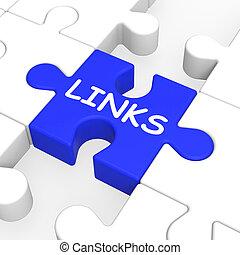 ligações, quebra-cabeça, mostrando, site web, conteúdo
