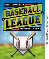 liga, beisball, Ilustración