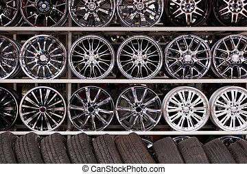 liga, car, rodas, parede