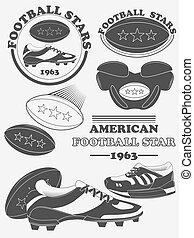 liga, elements., fußball, etiketten, amerikanische , fantasie, embleme, vektor, design