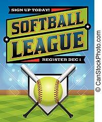 liga, sofbol, ilustración, registro