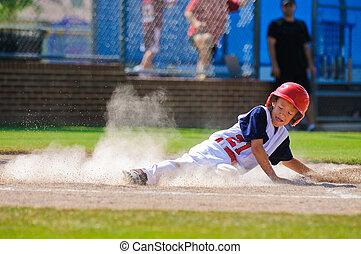 liga, wenig, spieler, baseball, home., schieben