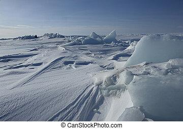ligado, a, gelo, de, a, ártico, ocean.
