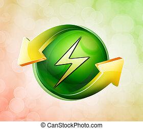 ligado, behalf, de, a, primavera, verde, ícone