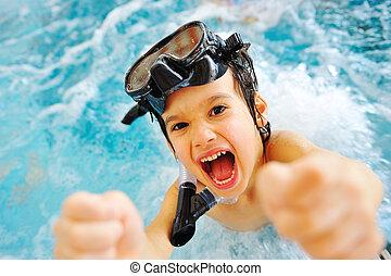 ligado, bonito, piscina, verão, grande, time!