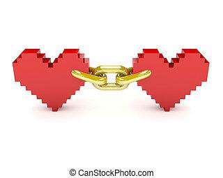 ligado, cadena, Corazones, dos, dorado