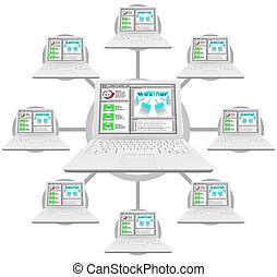 ligado, computadores, -, rede, webinar