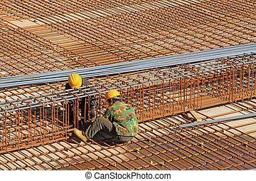 ligando, trabalhadores aço, em, locais construção
