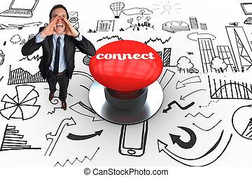 ligar, contra, digitalmente gerado, vermelho, empurre botão
