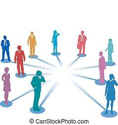 ligar, pessoas negócio, rede, conexão, espaço cópia