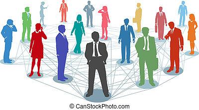 ligar, pessoas negócio, rede, conexões