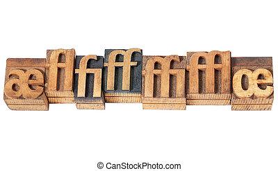ligature in wood type - row of ligature symbols in vintage...