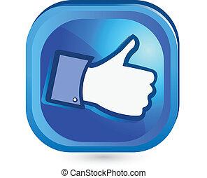 ligesom, knap, det, oppe, facebook, tommelfinger