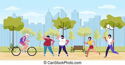 liget, emberek, nyár, gyalogló