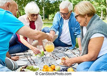 liget, idősebb ember, élvez, piknik, barátok