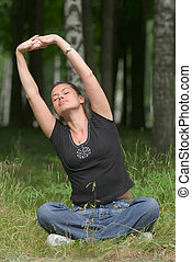 liget, szórakozási, jóga, gyakorlás