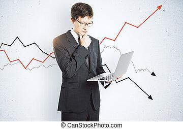 liggen, arrows., draagbare computer, tekening, zakenman, gebruik