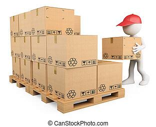 liggen, dozen, jongen, mensen., stapelen, 3d, witte