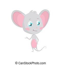 liggen, mouse., grijze , vrijstaand, pose., schattig, stickers, emoji, vector, karakter, spotprent, emoticon, illustraties, emotie, toestand, muis