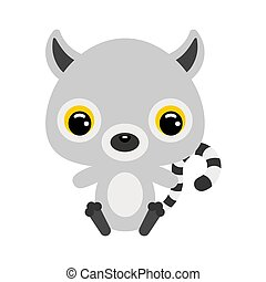 liggen, plat, weinig; niet zo(veel), lemur., zittende , vector, illustratie, schattig