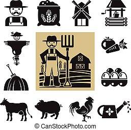 liggen, vector, pictogram, boerderij