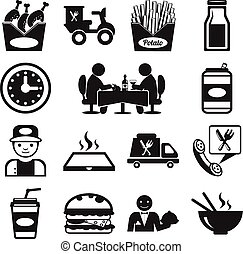 liggen, vector, voedingsmiddelen, pictogram, pictogram
