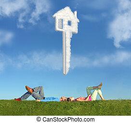 liggende, par, på, græs, og, drøm hus, nøgle, collage
