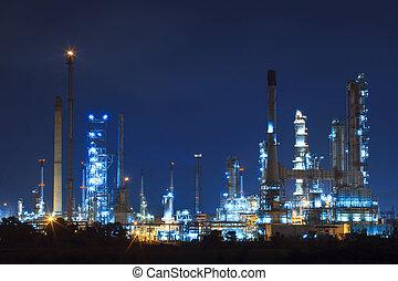 lighing landscape of oil refinery petrochemical in heavy...