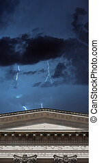 Lighning strikes over banking institution
