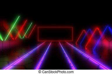 light., 抽象的, ネオン, イラスト, 背景, 3d