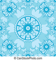 Light abstract seamless pattern with round ornamental elements. Vector soft blue background.