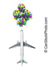 light air travel concept airplane flies on balloons on a background of the sky 3d render