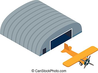 Light aircraft icon, isometric style