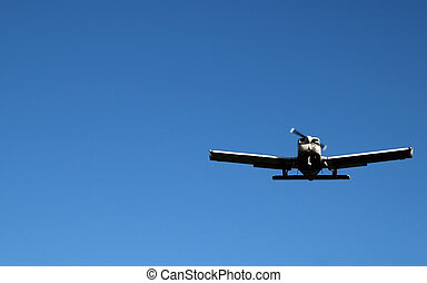 landing approach - light aircraft with level wings on...