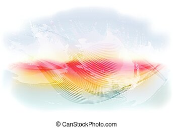 Light and bright abstract sky background with flying clouds, waves at sunset. EPS10 vector illustration