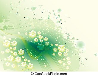 Light and bright floral abstract background with lines and watercolor stains. EPS10 vector illustration