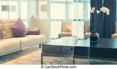 Light and cozy hotel room - Full of light. Dolly shot of...
