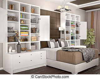 Light and cozy modern bedroom with open cupboards on the sides. Filling of cabinets. 3d illustration