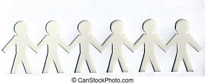 light and dark paper men on white background