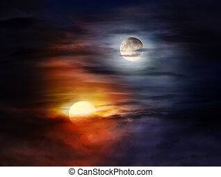 Light and dark - Sun and moon on a cloudy sky forming Yin...