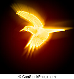 light and fire silhouette of a bird against dark background