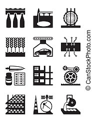 Light and heavy industry icon set - vector illustration