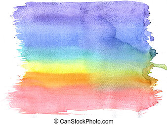 Light and soft watercolor pattern of rainbow on white...