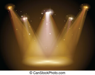 Light and stage - Illustration of a stage with bright...