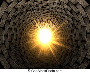 A perspective view of a bricked up tunnel with a light emanating at the end of it