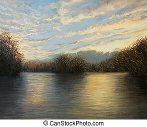 Light At The End of The Day - An oil painting on canvas of a...