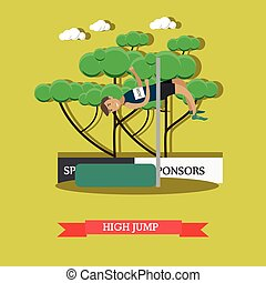 Light athletics, high jump concept vector illustration in flat style.